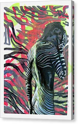 Rising From Ashes Zebra Boy Canvas Print