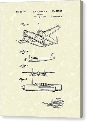 Howard Hughes Airplane 1944 Patent Art  Canvas Print by Prior Art Design