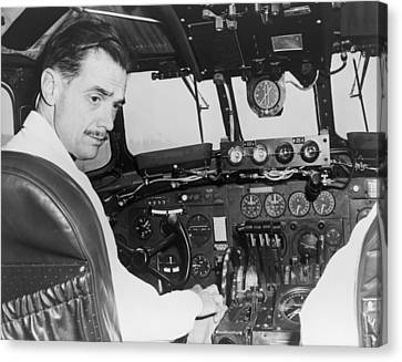 Howard Hughes Seated In The Cockpit Twa Canvas Print by Everett