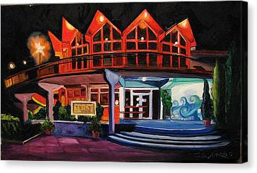Howard Johnsons At Night Canvas Print by Patricia Arroyo