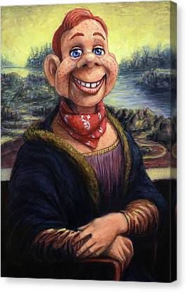 Canvas Print featuring the painting Howdy Doovinci by James W Johnson