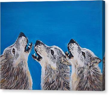 Howling Trio Canvas Print