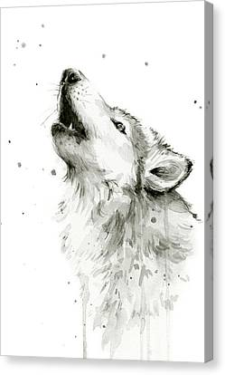Howling Wolf Watercolor Canvas Print by Olga Shvartsur