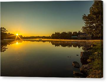 Buffalo Canvas Print - Hoyt Lake Sunrise Clear Skies N2 by Chris Bordeleau