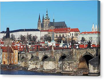 Hradcany - Cathedral Of St Vitus And Charles Bridge Canvas Print by Michal Boubin