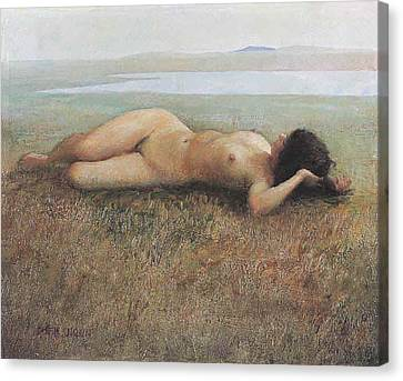 Hude On Grassland Canvas Print