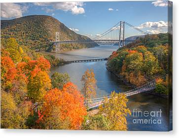 Hudson River And Bridges Canvas Print by Clarence Holmes