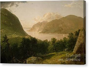Hudson River Scene, 1857  Canvas Print by John Frederick Kensett