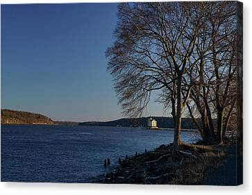 Hudson River With Lighthouse Canvas Print