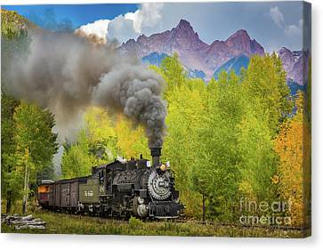 Railroads Canvas Print - Huffing And Puffing by Inge Johnsson