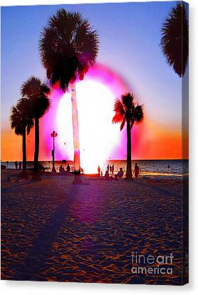 Huge Sun Pine Island Sunset  Canvas Print