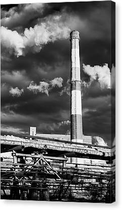 Huge Industrial Chimney And Smoke In Black And White Canvas Print by John Williams
