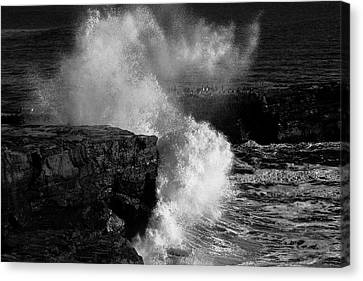 Huge Wave Breaking On The Rocks Canvas Print by Garry Gay