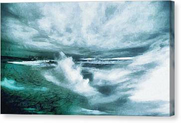 Huge Waves And Stormy Sea Art Painting Canvas Print