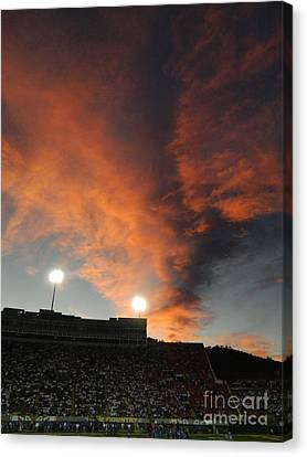 Hughes Stadium Sunset Canvas Print by Sara  Mayer