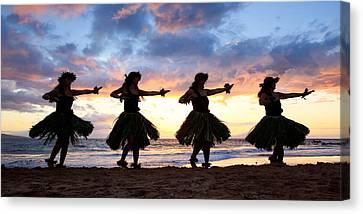 Hula At Sunset Canvas Print by David Olsen