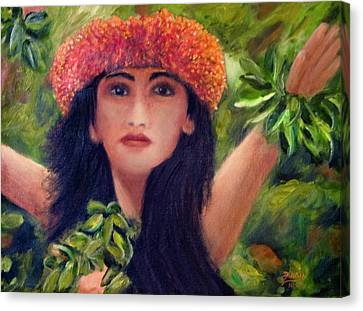 Hula Dancer Kahiko #422 Canvas Print by Donald k Hall