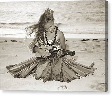 Hibiscus Canvas Print - Hula Girl by Himani - Printscapes