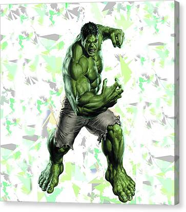 Canvas Print featuring the mixed media Hulk Splash Super Hero Series by Movie Poster Prints