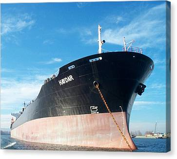 Hull Of Vessel Haydar At Anchor Canvas Print by Alan Espasandin