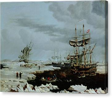 Hull Whalers In The Arctic  Canvas Print by Thomas A Binks