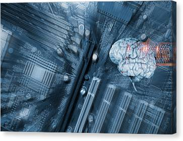 Canvas Print featuring the photograph Human Brain And Communication by Christian Lagereek