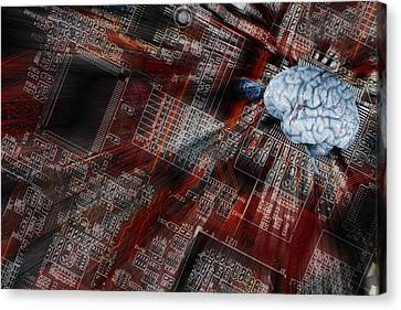 Canvas Print featuring the photograph Human Brain, Intelligence And Communication by Christian Lagereek