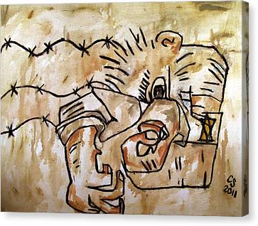 Human Dipole After Ben Shahn Canvas Print by Charlie Spear