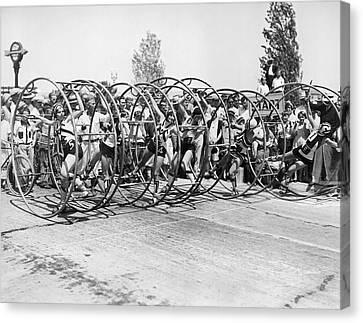 Human Hoop Race In La Canvas Print by Underwood Archives