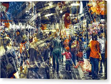 Canvas Print featuring the photograph Human Traffic by Wayne Sherriff