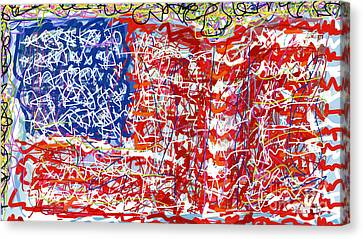 4th July Canvas Print - Humanity Behind The Flag by Robert Yaeger
