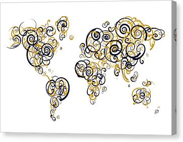Humber College Colors Swirl Map Of The World Atlas Canvas Print by Jurq Studio