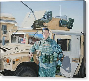 Canvas Print featuring the painting Hummer by Mike Ivey