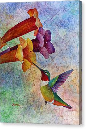 Canvas Print featuring the painting Hummer Time by Hailey E Herrera