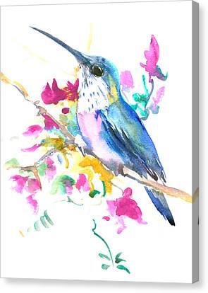 Hummingbird And Pink Purple Flowers Canvas Print by Suren Nersisyan