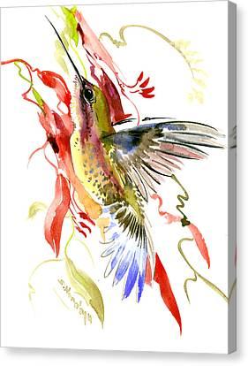 Hummingbird And Tropical Plants Canvas Print by Suren Nersisyan
