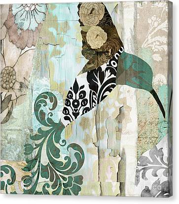 Tapestries - Textiles Canvas Print - Hummingbird Batik II by Mindy Sommers