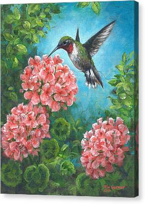 Canvas Print featuring the painting Hummingbird Heaven by Kim Lockman