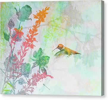 Canvas Print featuring the digital art Hummingbird Summer by Christina Lihani