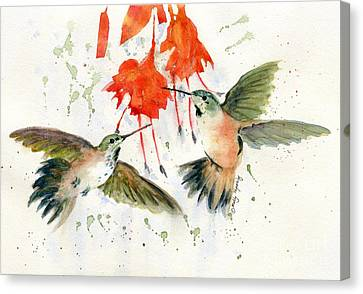 Hummingbird Watercolor Canvas Print by Melly Terpening