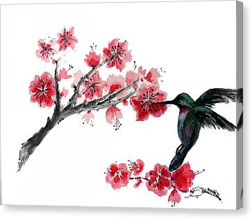 Hummingbird With Plum Blossom Canvas Print by Sibby S