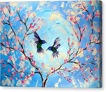 Hummingbirds In Cherry Blossom Canvas Print by Cathy Jacobs
