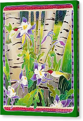 Columbine Canvas Print - Hummingbirds In The Aspen by Harriet Peck Taylor