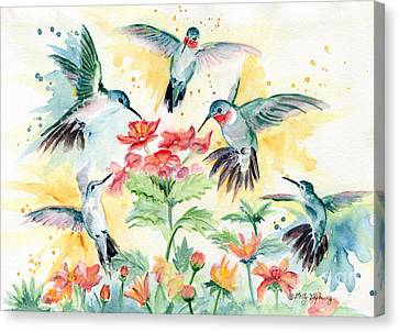 Hummingbirds Party Canvas Print by Melly Terpening