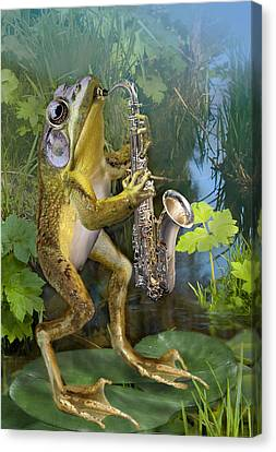 Humorous Frog Plying Saxophone Canvas Print by Regina Femrite