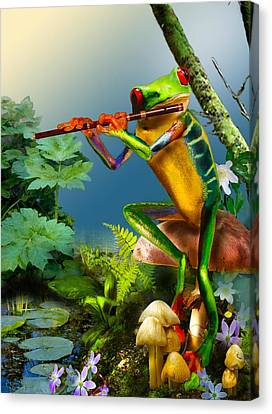 Humorous Tree Frog Playing The Flute  Canvas Print by Regina Femrite