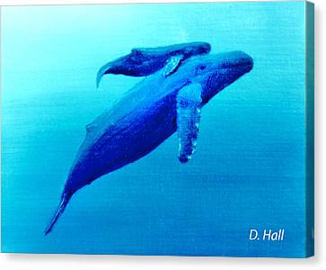 Humpback Mother Whale And Calf  #11 Canvas Print by Donald k Hall