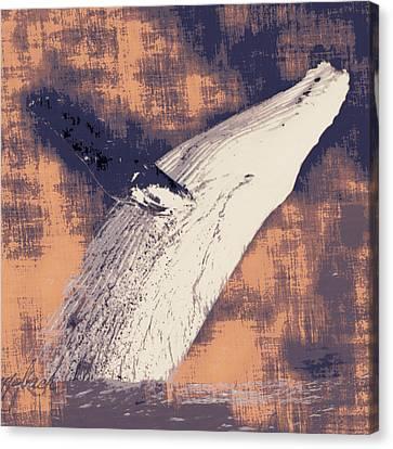 Humpback Whale Distressed Canvas Print by Brandi Fitzgerald