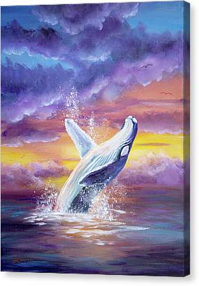 Whale Canvas Print - Humpback Whale In Sunset by Laura Iverson