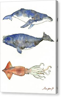 Squid Canvas Print - Humpback Whale, Right Whale And Squid by Juan Bosco